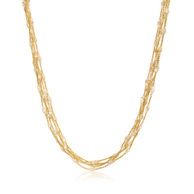 Italian 15.75 ct. t.w. CZ Multi-Strand Mesh Station Necklace in 14kt Yellow Gold, , default