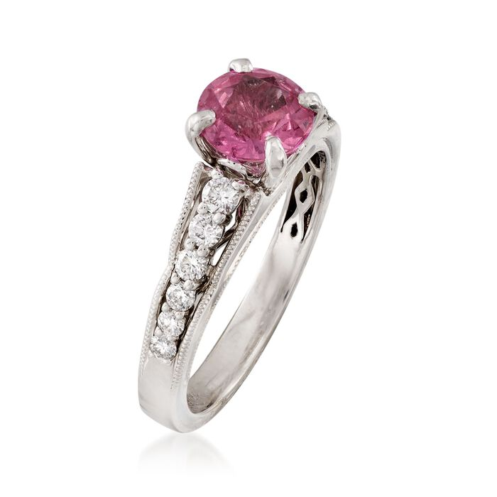 C. 2000 Vintage 1.30 Carat Pink Sapphire and .35 ct. t.w. Diamond Ring in 14kt White Gold