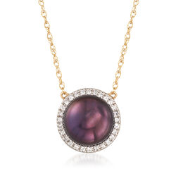 9.5-10mm Black Cultured Pearl and .10 ct. t.w. White Topaz Necklace in 14kt Yellow Gold, , default