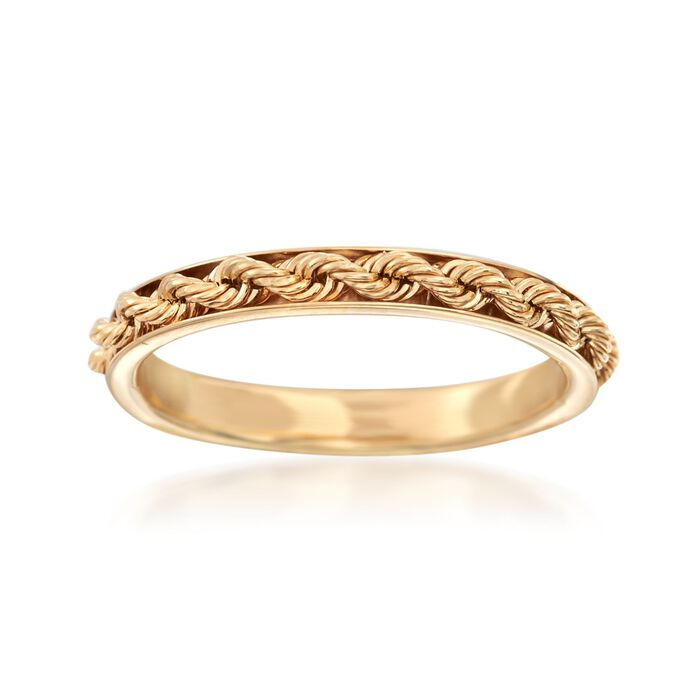 Italian 14kt Yellow Gold Rope Design Ring, , default