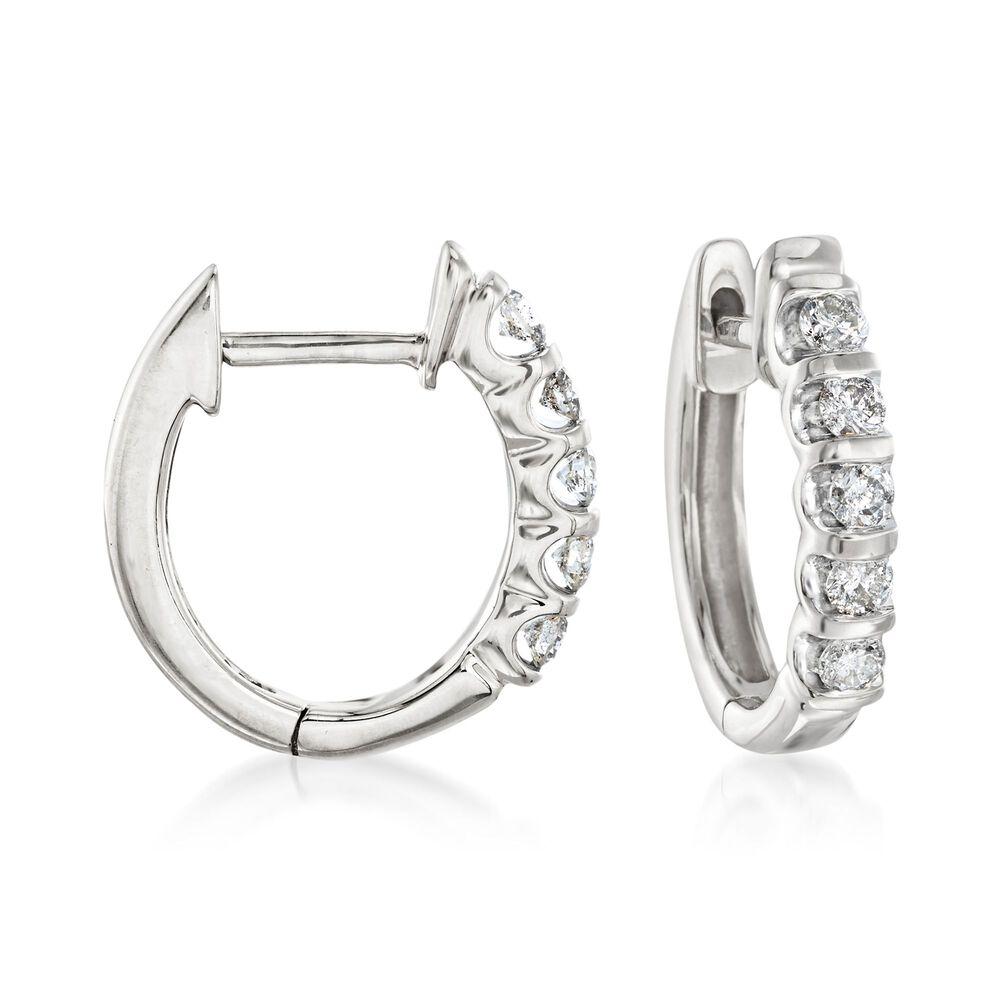 T W Diamond Huggie Hoop Earrings In 14kt White Gold 1