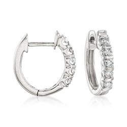 .25 ct. t.w. Diamond Huggie Hoop Earrings in 14kt White Gold, , default