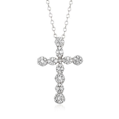 C. 1990 Vintage .65 ct. t.w. Diamond Cross Pendant Necklace in 14kt White Gold, , default