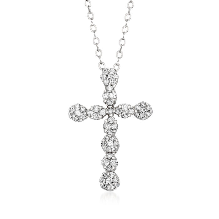"""C. 1990 Vintage .65 ct. t.w. Diamond Cross Pendant Necklace in 14kt White Gold. 18"""""""