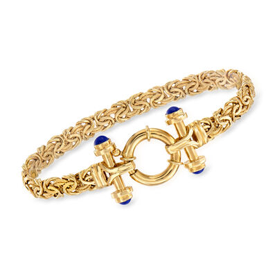 4mm Lapis Byzantine Bracelet in 14kt Yellow Gold, , default