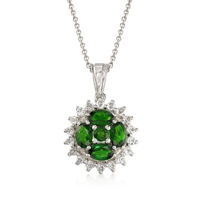 1.70 ct. t.w. Green Chrome Diopside and .80 ct. t.w. White Topaz Pendant Necklace in Sterling Silver, , default