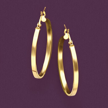 "Italian 14kt Yellow Gold Hoop Earrings. 1 1/8"", , default"