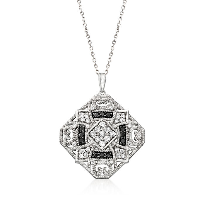 .75 ct. t.w. Black and White Diamond Pendant Necklace in Sterling Silver