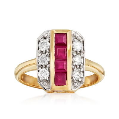 .80 ct. t.w. Ruby and .39 ct. t.w. Diamond Ring in 14kt Yellow Gold, , default