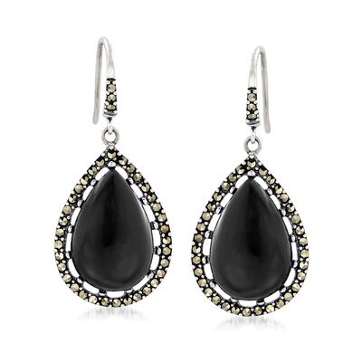 Black Onyx and Marcasite Teardrop Earrings in Sterling Silver, , default