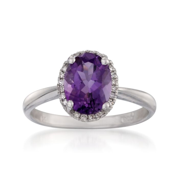 1.75 Carat Amethyst Ring with Diamonds in 14kt White Gold, , default