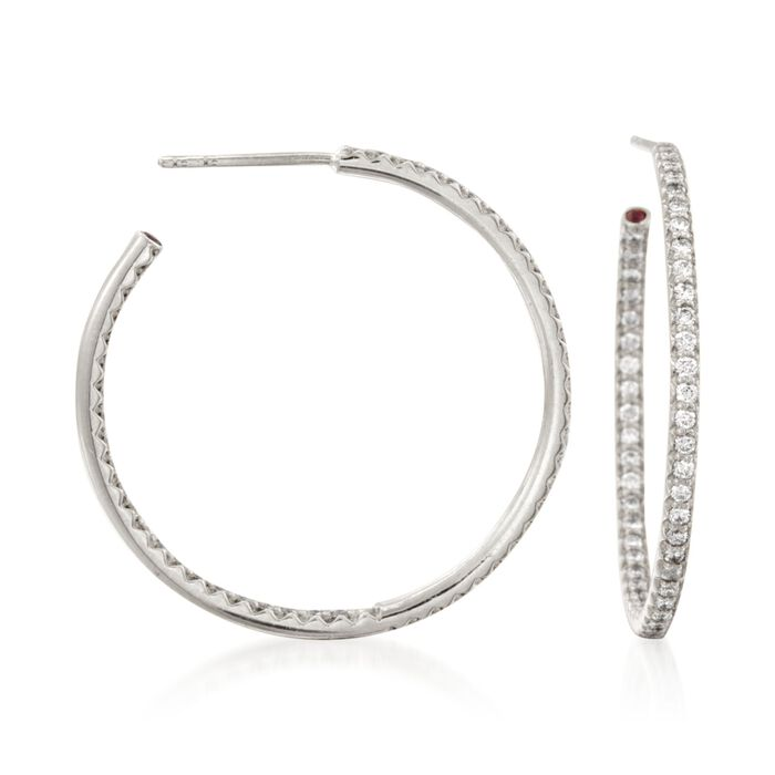 "Roberto Coin .68 ct. t.w. Diamond Inside-Outside Hoop Earrings in 18kt White Gold. 1 1/4"""