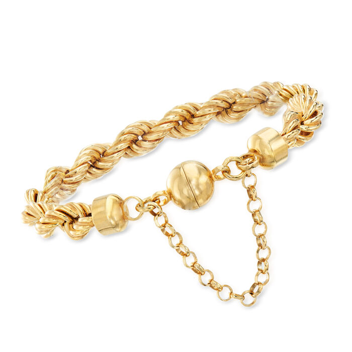 Italian 18kt Gold Over Sterling Rope Chain Bracelet with Magnetic Clasp
