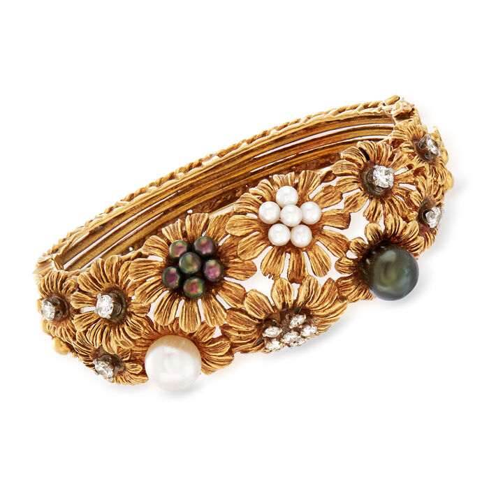 "C. 1960 Vintage Multicolored Cultured Pearl and 1.00 ct. t.w. Diamond Floral Bangle in 18kt Yellow Gold. 6.5"", , default"