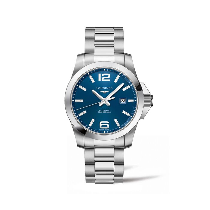 Longines Conquest Men's 43mm Automatic Stainless Steel Watch - Blue Dial , , default