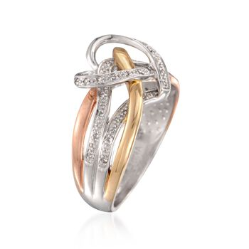 .10 ct. t.w. Diamond Heart Ring in Tri-Colored Sterling Silver, , default