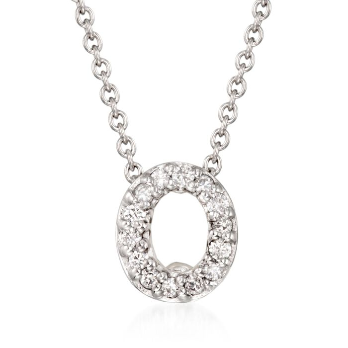 "Roberto Coin ""Love Letter"" Diamond Accent Initial ""O"" Necklace in 18kt White Gold"