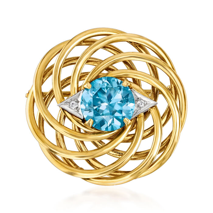 C. 1950 Vintage 7.75 Carat Blue Zircon Swirl Pin with Diamond Accents in 14kt Yellow Gold, , default