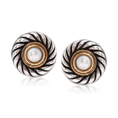 C. 2000 Vintage David Yurman 4mm Cultured Pearl Earrings in Sterling Silver with 14kt Yellow Gold, , default
