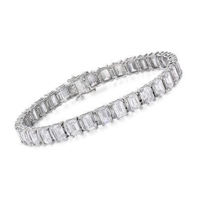 16.00 ct. t.w. Emerald-Cut CZ Bracelet in Sterling Silver, , default