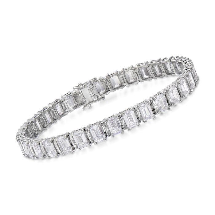 """16.00 ct. t.w. Emerald-Cut CZ Bracelet in Sterling Silver. 7"""", , default"""