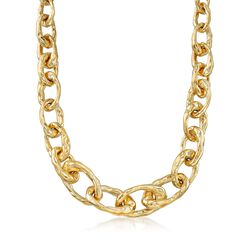 "Italian 18kt Gold Over Sterling Graduated and Hammered Cable-Link Necklace. 18"", , default"