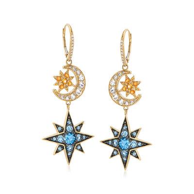 5.10 ct. t.w. Multi-Gemstone Celestial Drop Earrings in 18kt Gold Over Sterling, , default