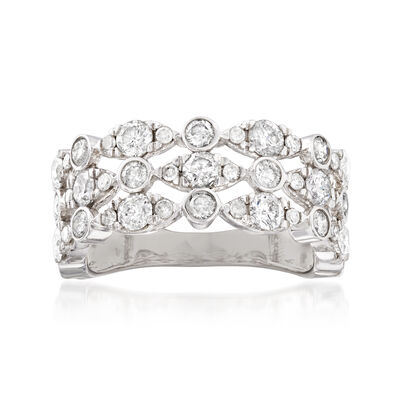 2.00 ct. t.w. Diamond Three-Row Ring in 14kt White Gold, , default