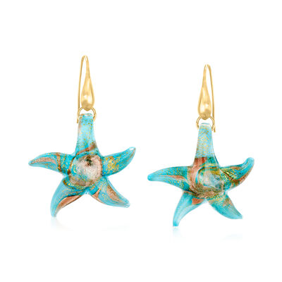 Italian Murano Starfish Drop Earrings with 18kt Gold Over Sterling
