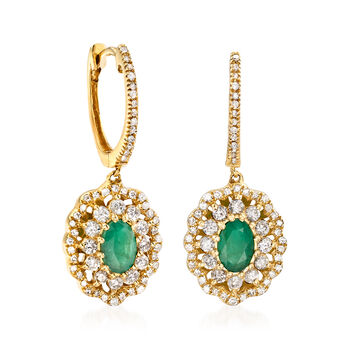 .90 ct. t.w. Emerald and .80 ct. t.w. Diamond Drop Earrings in 14kt Yellow Gold, , default