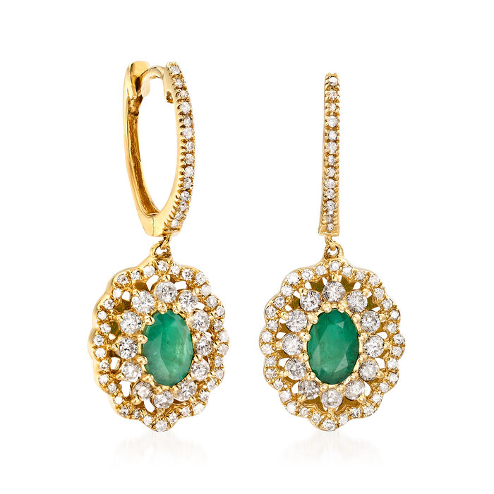 .90 ct. t.w. Emerald and .80 ct. t.w. Diamond Drop Earrings in 14kt Yellow Gold