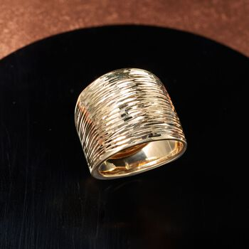 Italian 14kt Yellow Gold Diamond-Cut Dome Ring