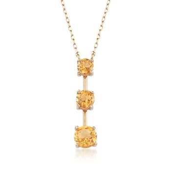 2.00 ct. t.w. Citrine Trio Pendant Necklace in 14kt Yellow Gold, , default