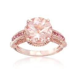 4.30 Carat Morganite and .20 ct. t.w. Tourmaline Ring in 14kt Rose Gold, , default