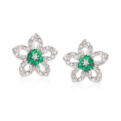 C. 1990 Vintage .55 ct. t.w. Diamond and .50 ct. t.w. Emerald Floral Earrings in 18kt White Gold, , default