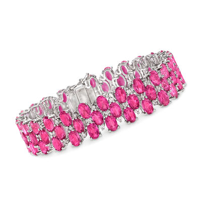 30.00 ct. t.w. Pink Topaz and 1.80 ct. t.w. White Zircon Bracelet in Sterling Silver, , default