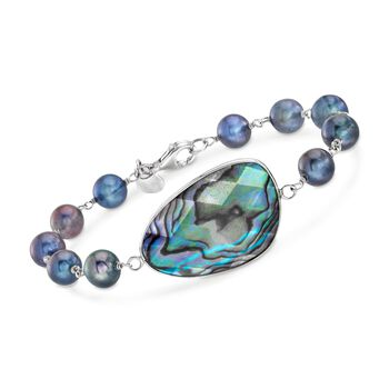 Abalone Shell Doublet and 7.5-8mm Black Cultured Pearl Bracelet in Sterling Silver, , default