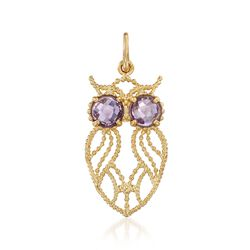 Italian .70 ct. t.w. Amethyst Owl Pendant in 14kt Yellow Gold, , default