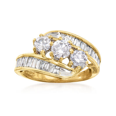 C. 1980 Vintage 1.40 ct. t.w. Round and Baguette Diamond Ring in 10kt Yellow Gold