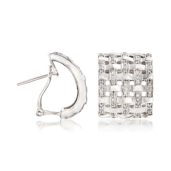 1.20 ct. t.w. Diamond Basketweave Drop Earrings in 14kt White Gold