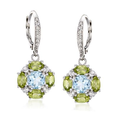1.90 ct. t.w. Blue and White Topaz Drop Earrings with Peridot in Sterling, , default