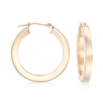"""3mm 14kt Yellow Gold Squared Hoop Earrings. 1"""", , default"""