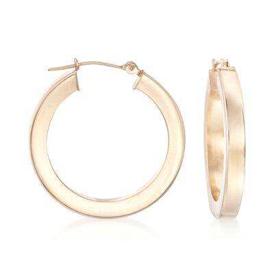 3mm 14kt Yellow Gold Squared Hoop Earrings, , default