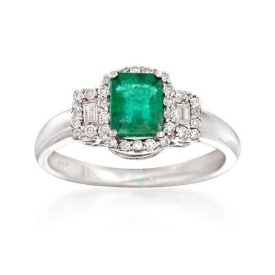.80 Carat Emerald and .25 ct. t.w. Diamond Ring in 14kt White Gold, , default