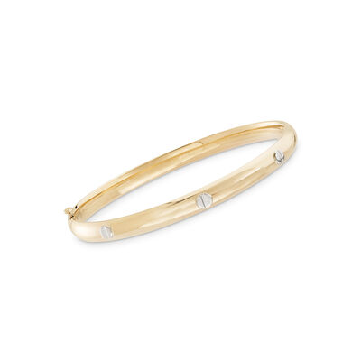 Baby's 14kt Two-Tone Gold Bangle Bracelet, , default