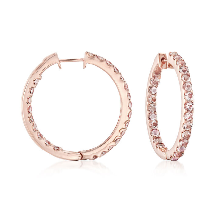 "2.80 ct. t.w. Morganite Inside-Outside Hoop Earrings in 18kt Rose Gold Over Sterling. 1"", , default"