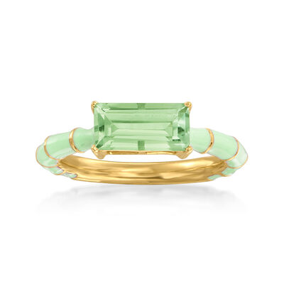 1.70 Carat Prasiolite Ring with Green Enamel in 18kt Gold Over Sterling