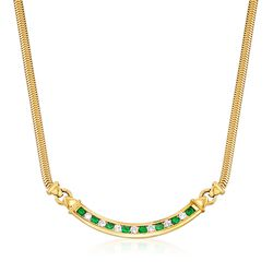 C. 1980 Vintage Tiffany Jewelry .80 ct. t.w. Emerald and .55 ct. t.w. Diamond Necklace in 18kt Yellow Gold  , , default