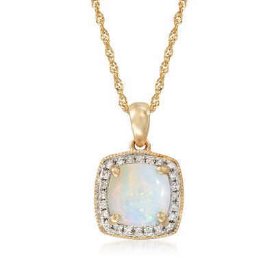 Opal Pendant Necklace with Diamond Accents in 14kt Yellow Gold, , default