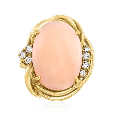 C. 1960 Vintage Pink Coral and .25 ct. t.w. Diamond Ring in 14kt Yellow Gold